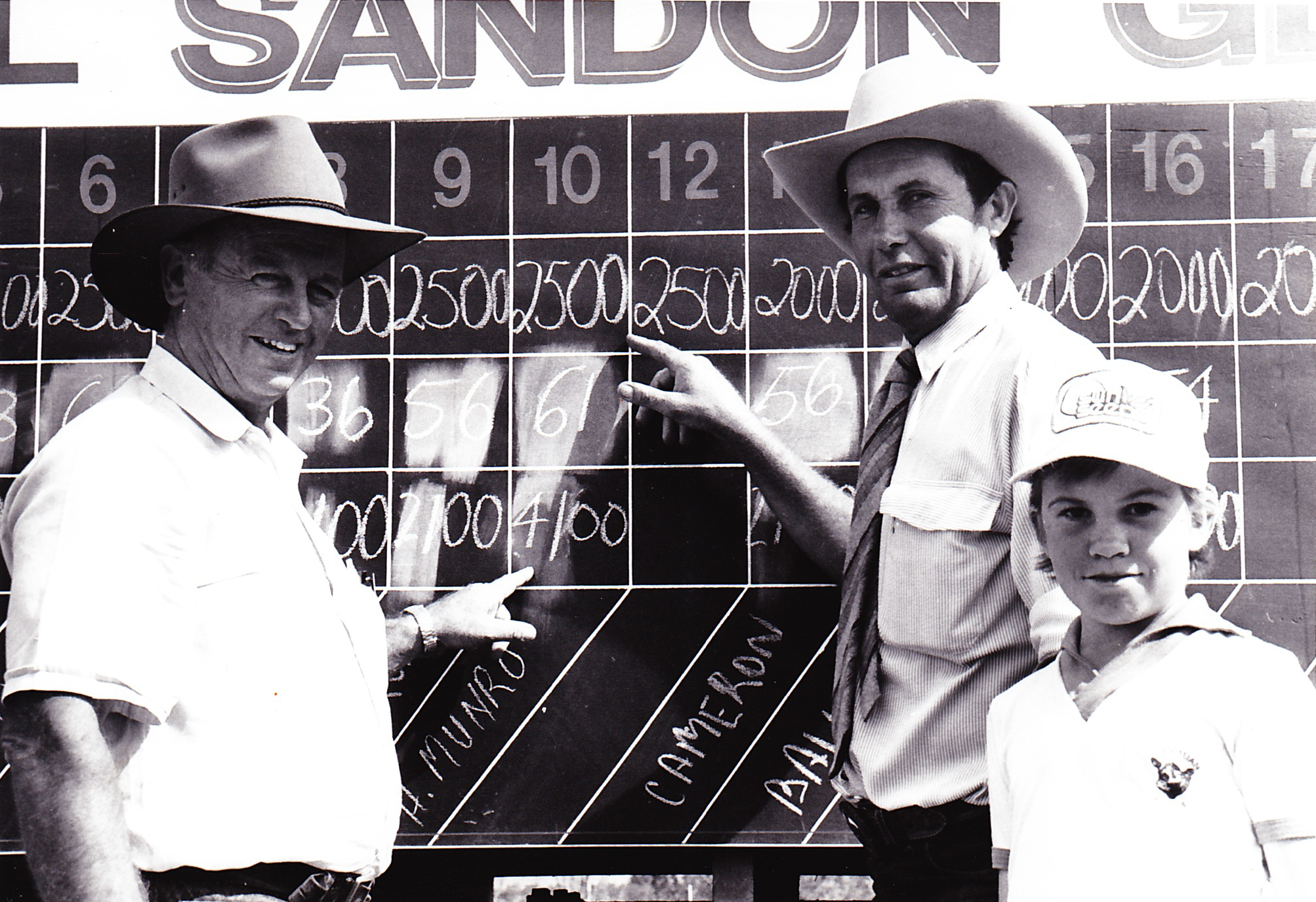 Hugh Munro, Roger and Justin at the SGA sale in 1992 when he purchased Glenoch Kaputar
