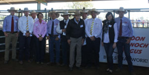 The Sandon Glenoch Angus sale was facilitated by Ray White Rural, Dalby and Glasser Total Sales Management. From left: Nick Boshammer, Bruce Birch, Roger Lyne, Tam Law, Roger Boshammer, Michael Glasser, Jack Atkin, Brendan Gilliland, James Croft, Kate and Justin Boshammer.